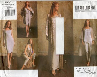 Vogue 2500 American Designer Tom & Linda Platt Kimono, Dress, Top, Pants and Scarf Pattern, Sizes 18, 20, 22
