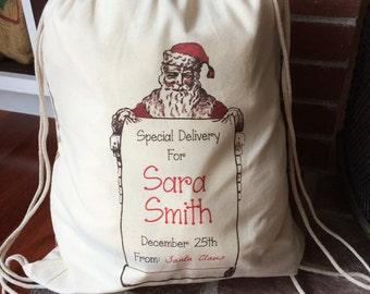 1 Santa Sack - Christmas Bag - Large Drawstring Canvas - Personalized - Santa List Design - 17x20 - Made in the USA