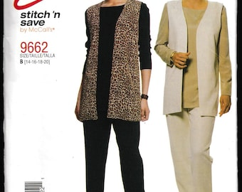 Easy stitch 'n save McCall's 9662 Misses Vest, Tunic and Pants