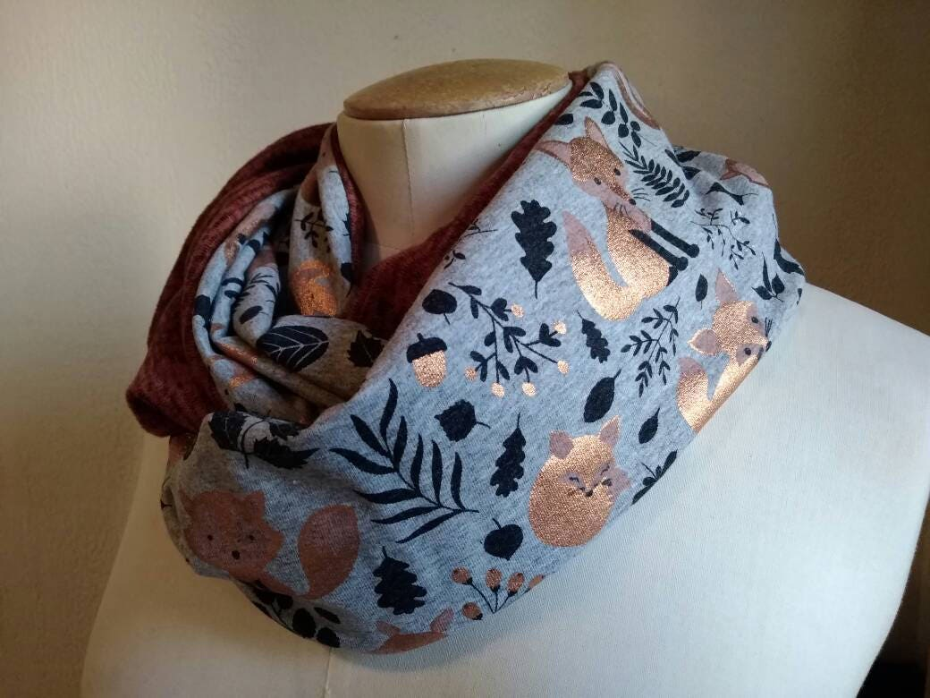 Fox snood, woman circle scarf, foxes pattern, infinity scarf, rust ...