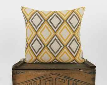 Geometric Decorative Throw Pillow Case in Grey Taupe and Mustard Yellow Diamond Pattern | 16x16 or 18x18 Modern Decor Accent Cushion Cover