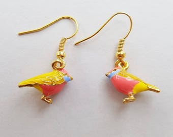 Little Bird Earrings in Gold, Yellow and Pink 3D Birds, Gold Earrings, Choose Gold Plated, Surgical Steel or Gold Filled Wires