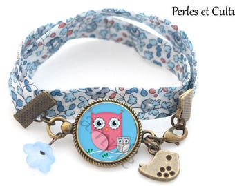 Pink OWL - MOM and Baby - Blue Bird flower cabochon bracelet