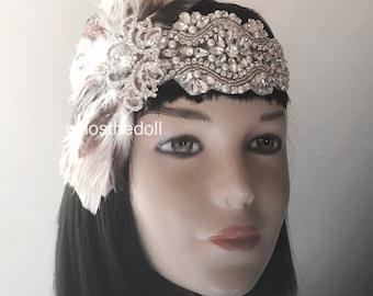 1920s Gatsby headpiece/Flapper headpiece/Wedding headpiece/Art Deco/Pearl headpiece/Rhinestone headpiece/hair accessories/hair jewelry/Hope