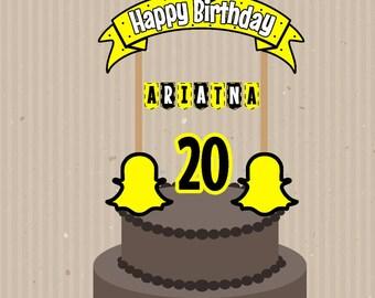 Snapchat Cake Topper, Custom Snapchat Cake Topper, Snapchat Birthday, Snapchat Banderin, Printable Cake Topper, Snapchat Topper