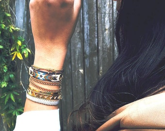 Urban Aztec Wrap Bracelet,arm candy,stackable bracelets,trendy jewelry,Stacking Jewelry,Unique Jewelry,street style boho chic,stack bracelet