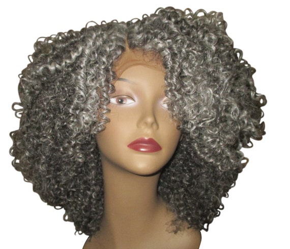 """Essence Wigs Pretty Gray """"Lola"""" Lacefront Kinky Curly Lace Wig Unit w/ Parting"""