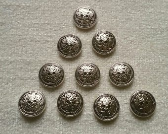 10 x silver effect swirl patterned Buttons 2-hole 15mm round steampunk