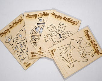 Christmas Card Set - Wooden Card Set - Laser cut, Laser engraved, Perfect Holiday Gift.