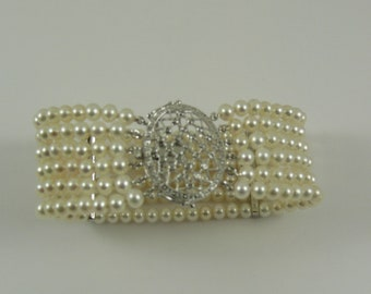 Freshwater Pearl Six Strand Bracelet with 14k White Gold Diamond Bars and Clasp
