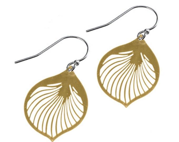 Enameled Ginkgo Leaf Earrings in Gold
