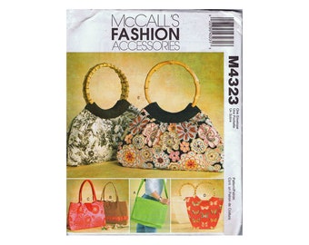 McCall's Fashion Accessories M4323 Women's Bags - Tote - Handbag Sewing Pattern