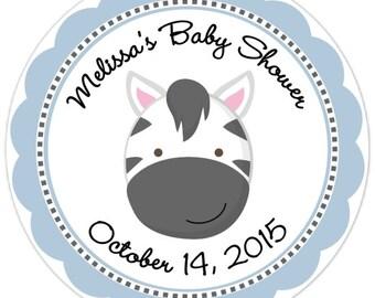 Zebra Baby Shower Stickers - Zebra Custom Baby Shower Labels - Personalized for YOU