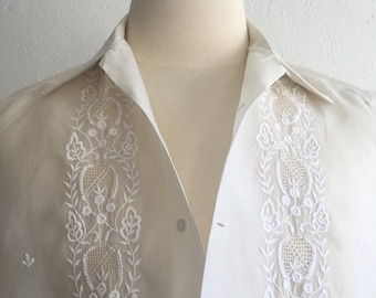 Men's ivory lounge shirt * Vintage 1950s short-sleeve button-down shirt * 50s sheer embroidered shirt