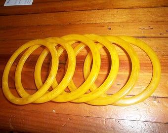 6 vintage Butterscotch Egg yolk Transparent bangle bracelets