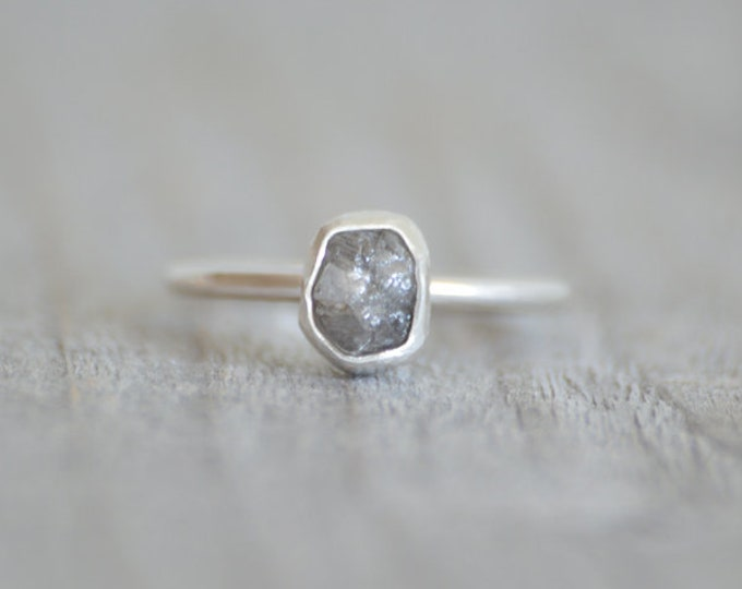Raw Diamond Engagement Ring, 1ct Grey Diamond Ring, Handmade In England