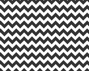 Riley Blake, Small Chevron, Black and White, fabric by the yard