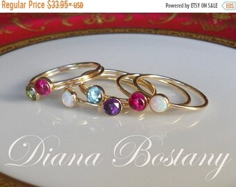 ON SALE Gold Stacking Ring, Birthstone Ring, Stackable Ring, Choose Gemstone or Plain Band, Mix n Match, Opal, Ruby, Blue Topaz, Amethyst, P