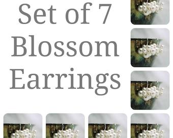 Ensemble de sept perles Swarovski boucles d'oreilles, Bridal cadeau de fête, mariage boucles d'oreilles, boucles d'oreilles 7 demoiselles d'honneur, demoiselles d'honneur cadeau nuptiale boucles d'oreilles