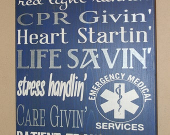 Paramedic Sign, Paramedic Wall Art, EMS Sign, Distressed Wall Decor, Custom Wood Sign, Paramedic/EMS Subway Sign, EMT Sign - 911 Respondin'