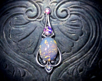 Opaline Bindi. festival face gem, opal bindi, wedding bindi, tribal fusion, bellydance bindi, third eye jewel, festival jewelry, boho bindi