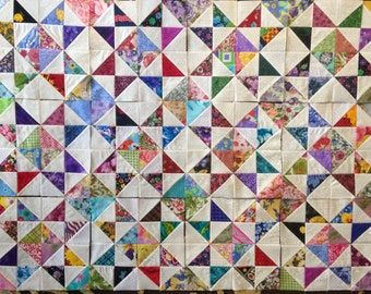 12 COLOR COLLECTION Eight Point Scrappy Stars  Quilt Top Fabric Blocks 100% Cotton Made in USA