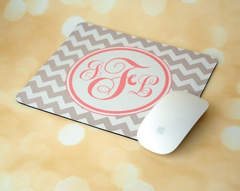 Gray Chevron + Monogrammed Mouse Pad + Office Accessories + Mousepad + Light Pink + Coral + Administrative Professionals Day Gifts