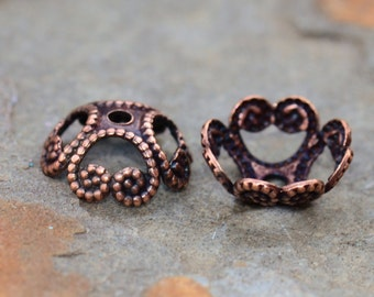 4 Antique Copper 8mm Filigree Bead Caps - 2 pairs  - Nunn Designs