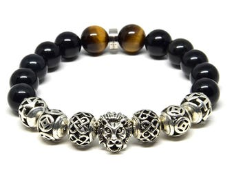 Lion Head Genuine Tiger's Eye & Black Onyx Stretch Bracelet