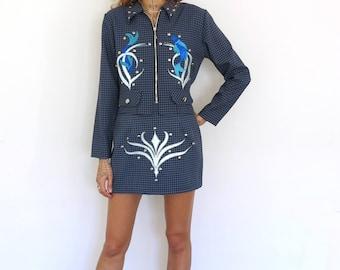 Pisces Suit / Zodiac Jacket and Skirt / Studded Suit Medium
