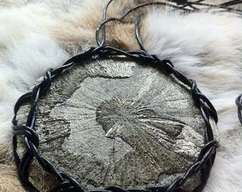 Handmade Large Pyrite Sun Pendant .:. Leather Woven and Hand Dotted by Milica ZZAA