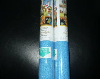 2 Fabri Craft Peel'n Stick Fabric Rolls Retro Fun Blue
