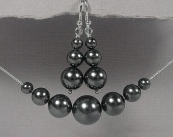 Black Pearl Jewelry Set, Charcoal Black Wedding Jewelry Set, Bridesmaid Gift Jewelry Set, Maid of Honor Gift Jewelry Set Black Pearl Jewelry