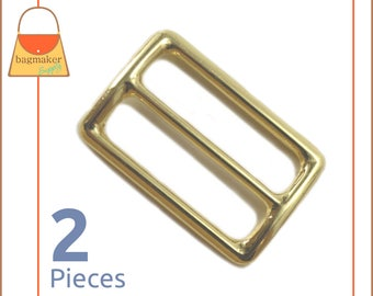 "1.5 Inch Slide for Purse Straps, Shiny Brass Finish, 2 Pieces, Handbag Purse Hardware Supplies, 1.5"", 1-1/2"", 1-1/2 Inch, BKS-AA027"