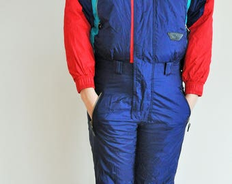 Vintage One Piece Skiing Suit / Ski / Red / Blue / Jacket / XS / Small / S / Onepiece / Overall / Costume / Jumpsuit / Skisuit