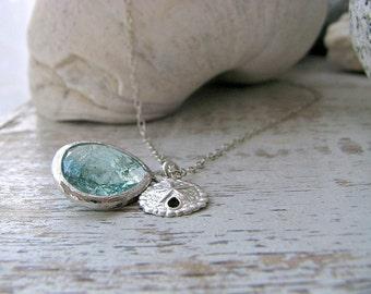 Aquamarine Necklace Sand Dollar Necklace Erinite gemstone 925 Sterling Silver Erinite Jewelry Beach Wedding Beach jewelry march birthstone