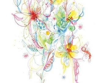 Print, abstract watercolour drawing - Mixed Media - drawing - giclee  PRINT 11x14- wall art - wall decor