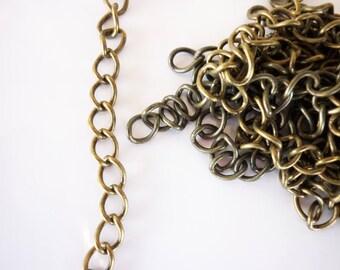 5 Extender chains brass bronze 4 x 7, 5mm
