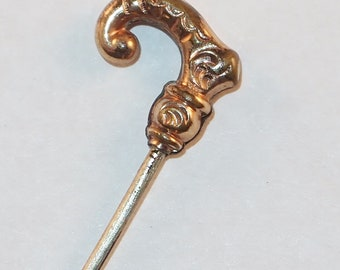 Antique Victorian Rose Gold Filled Repousse Figural Cane Handle Stick Pin Lapel Brooch