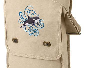Orca and Echo Embroidered Canvas Field Bag