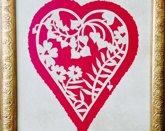 """PAPERCUT Floral Vine Heart ORIGINAL Handmade Paper Cutting, Scherenschnitte, fits 8X10"""" frame"""