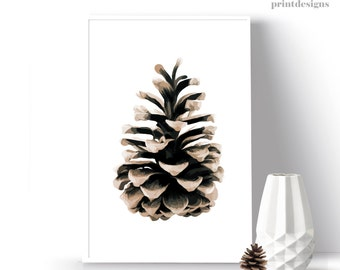 Pinecone Printable, Pinecone Print, Winter Wall Art, Pinecone Art Print, Modern Botanical Poster, Nature Print, Botanical Art