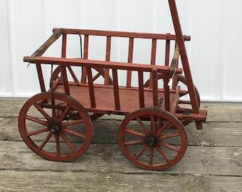 Antique Goat Cart Original Red Paint 1800's Vintage