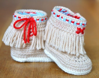 CROCHET PATTERN Baby Booties Fringe Moccasins 3 Sizes Photo Tutorial Baby Shoes Pattern Instant Download Digital File