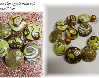 Polymer Clay Lentil Beads. Large Lentil Beads. Coin Beads.