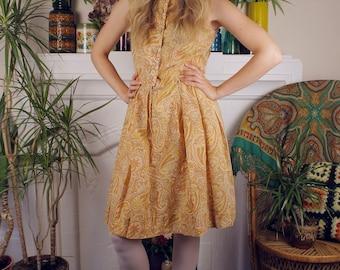Helter Skelter Vintage c. 1960's Paisley Pleated Summer Dress Sundress