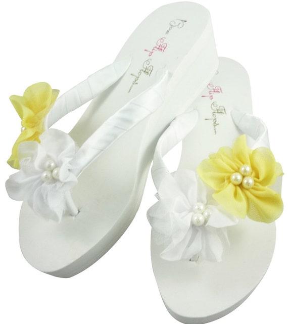 Wedge Heel Flops Flip Platform Ribbon Flip Flip Flops Bride Bridal ...