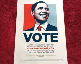 President Barack Obama : Genuine VOTE hope poster - 2008