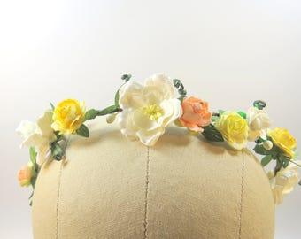 Boho Bridal Wreath - Boho Bridal Hair Accessories - Cream, Yellow and Peach Flower Hair Piece -  Bridal Flower Hair Wreath - WedAcc - 117