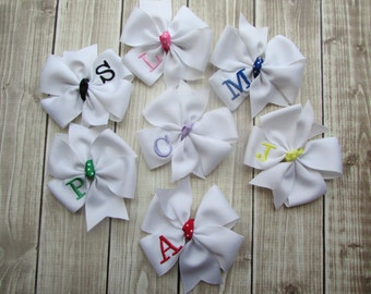 Girls Hair Bow, Monogram Hair Bow, Custom Hair Bow, Initial Hair Bow, Embroidered Hair Bow, Personalized Hair Bow